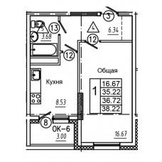 1-комнатная квартира № 1 площадь 38,22