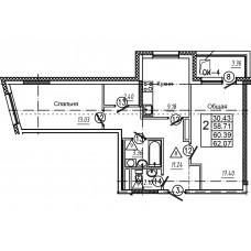 2-комнатная квартира № 14 площадь 62,07