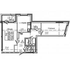 2-комнатная квартира № 15 площадь 62,07