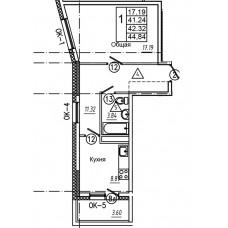 1-комнатная квартира № 2 площадь 44,84