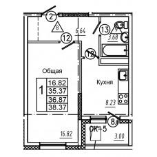 1-комнатная квартира № 25 площадь 38,37