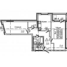2-комнатная квартира № 3 площадь 61,95