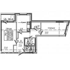 2-комнатная квартира № 4 площадь 61,95