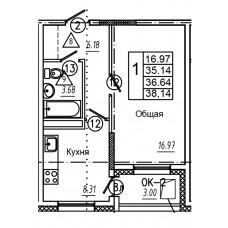 1-комнатная квартира № 42 площадь 38,14