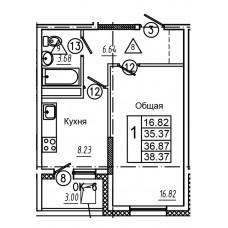 1-комнатная квартира № 44 площадь 38,37