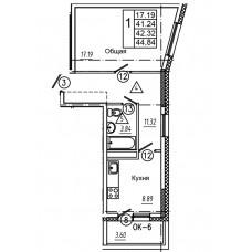 1-комнатная квартира № 5 площадь 44,84