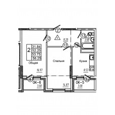 2-комнатная квартира № 6 площадь 58,25