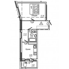 1-комнатная квартира № 69 площадь 44,84